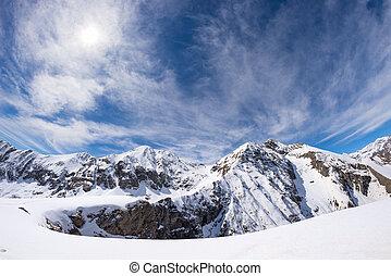 alpy, góra, gwiazda, słońce, na, snowcapped, skala, jarzący się, włoski