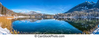 alpy, góra, idylliczny, zima sceniczna, bawarka, jezioro, krajobraz