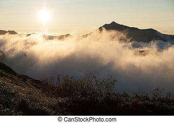 alpy, północ, wschód słońca