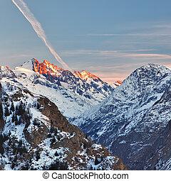alpy, zachód słońca, francuski