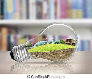 alternatywa, bulwa, lekki, pojęcie, energia