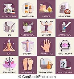 alternatywa, ikony, komplet, medycyna