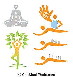 alternatywa, medi, yoga, masaż, ikony