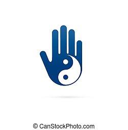 alternatywa, pojęcie, chińczyk, wellness, yoga, yin, -, medycyna, wektor, ikona, logo, rozmyślanie, zen, yang