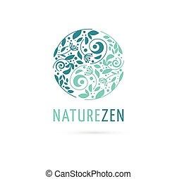 alternatywa, pojęcie, chińczyk, wellness, zen, ikona, yin, -, ziołowy, wektor, medycyna, logo, rozmyślanie, yang