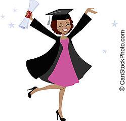 amerykańska kobieta, absolwent, afrykanin