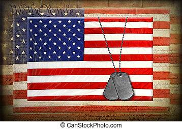 amerykańskie bandery, pies, skuwki