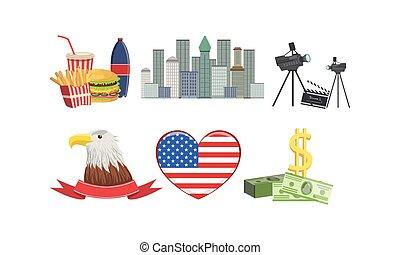 ameryka, amerykanka, zjednoczony, wektor, stany, ilustracja, atrakcje, zbiór, symbolika, znaki, tradycyjny, krajowy