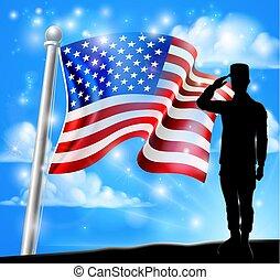 amerykanka, żołnierz, bandera, projektować, patriotyczny, pozdrawiać