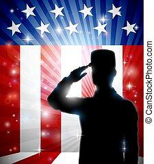 amerykanka, żołnierz, bandera, projektować, patriotyczny, pozdrawianie
