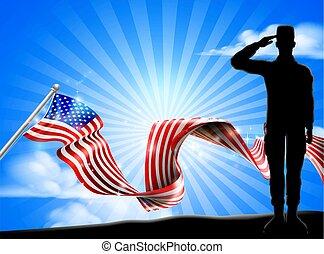 amerykanka, żołnierz, bandera, tło, patriotyczny, pozdrawiać