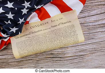 amerykanka, deklaracja, 4, niezależność, stany, lipiec, bandera, 1776, zjednoczony