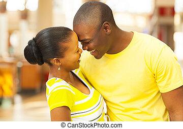 amerykanka, flirtując, para, afrykanin