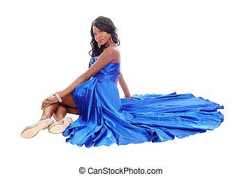 amerykanka, floor., kobieta, wspaniały, afrykanin