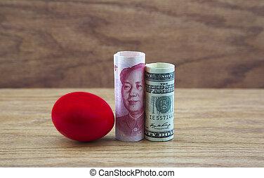amerykanka, jajko, szkarłat, gniazdo, handlowy, chińska waluta, niebezpieczeństwa, odbija się, ryzykowny