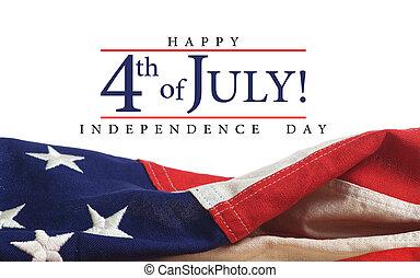 amerykanka, powitanie, bandera, dzień, niezależność
