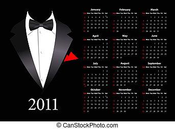 amerykanka, wektor, kalendarz, elega