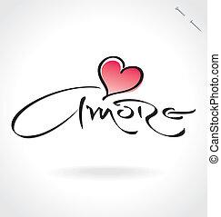 'amore', ręka, (vector), tytuł