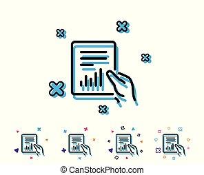 analiza, chart., zameldować, kreska, dokument, icon.