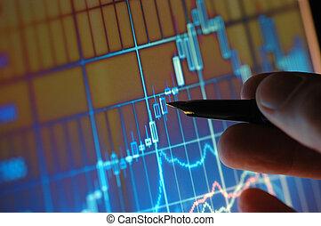 analizując, wykres, targ, pień