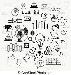analytics, elementy, postęp, doodle, finanse, handlowy, learnings, scetches, zaciągnąć, przewodnictwo, infographic, ręka, pojęcie