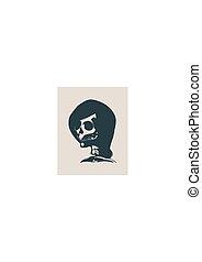 anatomiczny, czaszka, ilustracja