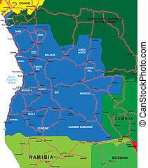 angola, mapa, polityczny
