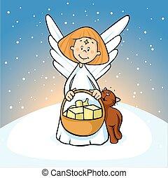 anioł, śnieżny, -, ilustracja, wektor, tło, kosz, utrzymywać