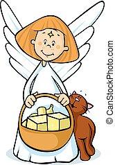 anioł, -, ilustracja, wektor, kosz, utrzymywać