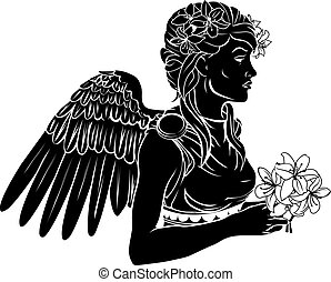 anioł, kobieta, stylised, ilustracja