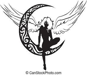 anioł, księżyc