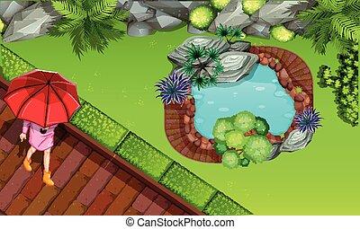 antena, ogród