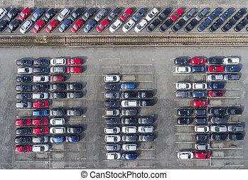 antena, pojazd, wóz., los, parking, nowy, prospekt