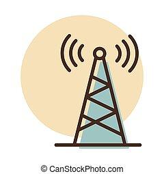 antena, znak, icon., wektor, nawigacja, komunikacja