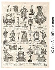 antykwariat, wiktoriański, reklama, objects., retro