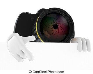 aparat fotograficzny, ściana, biały, litera, za