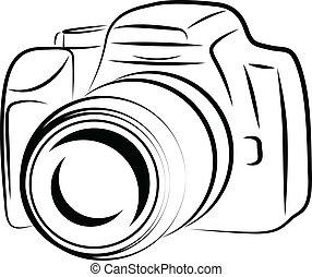 aparat fotograficzny, kontur, rysunek