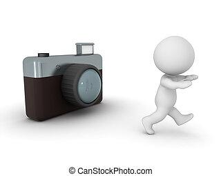 aparat fotograficzny, litera, 3d, odbiegając, fotografia