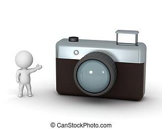 aparat fotograficzny, litera, pokaz, 3d, fotografia