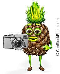aparat fotograficzny, rysunek, 3d, widać, fotografia, ananas, render, litera