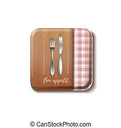 appetit, design., bon, realistyczny, wektor, ilustracja, kuchnia