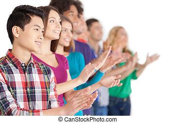 applause., reputacja, ktoś, grupa, ludzie, oklaskując, młody, odizolowany, radosny, znowu, multi-ethnic, biały, hałas