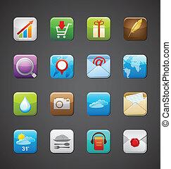 apps, zbiór, ikony