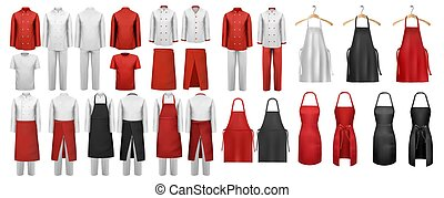 aprons., petycje, odzież, komplet, biały, vector., cielna, kulinarny, czerwony