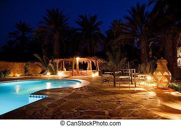 arab, hotel, wieczorny, kałuża