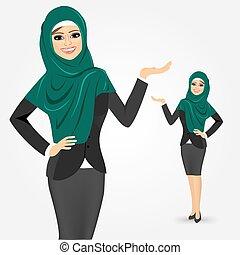arabszczyzna, kobieta, pokaz, handlowy, coś