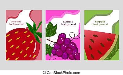 arbuz, illustration., winogrona, abstrakcyjny, lato, tło., truskawki