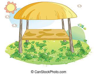 arbuz, ilustracja, ogród