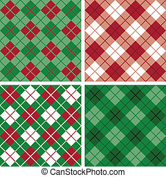 argyle-plaid, red-green, próbka
