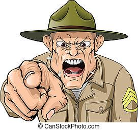 armia, gniewny, rozkrzyczany, sierżant, dryl, rysunek